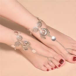 Sexy Coins NZ - Vintage Antique Silver Retro Coin Anklets For Women Yoga Sexy Ankle Bracelet Sandals Brides Shoes Barefoot Beach Gifts 2017 Wholesale