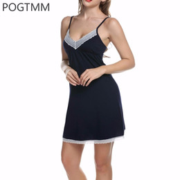 974d406357 Wholesale- Lady Cotton Nightgown Women Nightwear Night Dress Female  Sleeveless Lace Nighty Sexy Sleepwear Sleep Sleepshirt Home Clothes L1