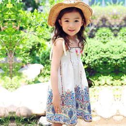 Algodón Impresa Vestidos De Verano Baratos-Everweekend Summer Kids Girls Cotton Vintage Suspender de la manera del vestido Halter Western Print Flowers Princess Lovely Dress