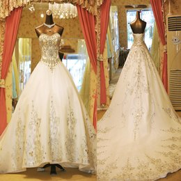 $enCountryForm.capitalKeyWord NZ - 2019 Bling Crystal Wedding Dresses Beaded Sweetheart Puffy Vintage Satin Ball Gown Chapel Train Lace up Back Bridal Wedding Gowns Real Photo