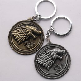 Wolf men rings online shopping - Moive Jewelry Game of Thrones House Stark of Winterfell Badge Keychain Alloy Wolf Keychain Key Rings Jewelry For Gift