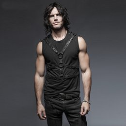 Barato Coletes De Punk Para Homens-Atacado - Steam Punk Rivets Men's Sleeveless Vest Tops Primavera Verão Black Casual Tank Camisetas masculinas