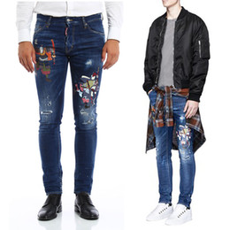 Cool Denim Men Pas Cher-Samurai Jeans Hommes Japon Guerrier Broderie Bleach Wash Vintage Denim Trouser Cool Guy Stitch détail Faded Jeans