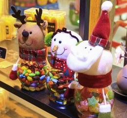 best christmas candy NZ - New Santa Claus Candy Jar cover Christmas Snowman Deer Glass Jars Christmas Decoration Christmas Red Toy Best Gift For Children