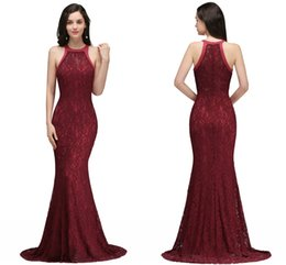 China Burgundy Mermaid Prom Dresses Full Lace Halter Sleeveless Zipper Back Long Evening Gowns Cheap Under 50 Vintage Special Wear CPS7 supplier cheap long prom dresses halter suppliers