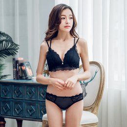 thin lingerie girls Canada - full lace comfortable lingerie sets wire free thin cup women sexy bra set push up seamless cross young girls underwear suit