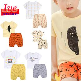 758f29c32 2017 Children's Clothing Sets Summer fashion cartoon Baby boys Cotton suits Kids  Clothing Set sleepwear cotton t-shirts+trousers