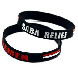 rubber bands glow UK - 1PC Fashion Decoration Flag Logo Yemen Saba Relief Silicone Rubber Arm Band Adult Size 2 Colors
