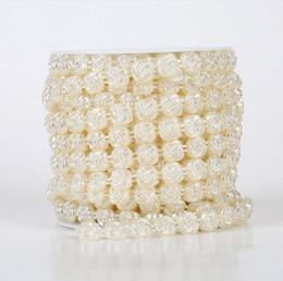 $enCountryForm.capitalKeyWord Canada - 1 Spool 10mm Flower Shape ABS Pearl Garland Cake Banding Trim Ribbon For Sewing Wedding Party Centerpiece Decoration