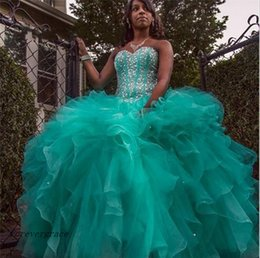 12 ans de robes Pas Cher-2017 Sparkly Hunter Robe Quinceanera Verte Princesse Ruffles Sweet 16 ans Longue Fille Prom Party Robe Pageant Plus Size Custom Made
