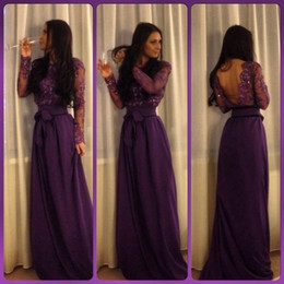 Robes Sexy Violet Manches Longues Pas Cher-Dark Purple Long Sleeves A Line Robe de soirée robe de fête Appliques Beading Graduation Dress For Evening Party