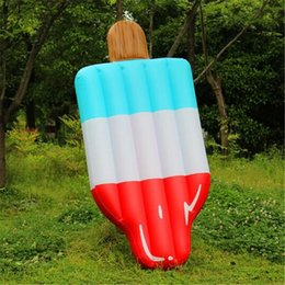 Discount popsicle cartoon - 180*90cm Inflatable Popsicle Ice Cream Water Pool Float Mattress Raft Toy Holiday Inflatable Party Outdoor Swimming Mat