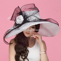 Hats For Wedding Black Australia - White kentucky derby hats for tea party dresses ladies church hats for black women summer sun hats organza Wedding chapeau femme wide brim