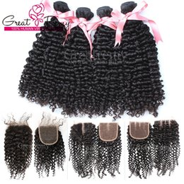 bundles curly hair sale Australia - New Year's Sale!! Buy 4pcs Virgin Brazilian Bundles Curly Hair Get 1pc Lace Front Closure(4*4) Free Part Middle Part 3 Way