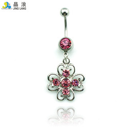 Metal Hollow Body Canada - Special Style! DIY New Design High Quality Fashion Metal Hollowed-out Flower Navel Piecing Rings For Women Body Jewelry