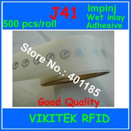 Impinj Rfid UK - Wholesale- Impinj J41 UHF RFID adhesive wet inlay 500 pcs sticker 860-960MHZ Monza4 915M EPC C1G2 ISO18000-6C can be used to RFID tag label