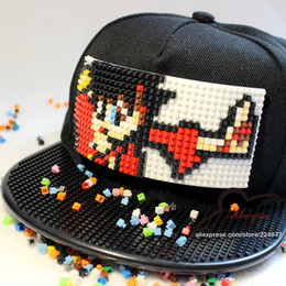 custom hat adult 2019 - Wholesale- New Fashion Cartoon Design Custom Detachable Trucker Snapback Hats For Men Summer Mosaics Brick Hat for Women
