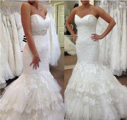 $enCountryForm.capitalKeyWord Australia - Lace Mermaid Wedding Dresses Strapless Sweetheart Neckline Lace-up Wedding Gown Custom Made Bridal Gown With Rhinestones Beaded Belt
