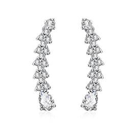 Copper Earrings Hooks UK - Elegant Silver Plated Copper Vine Wrap Pin Climbers CZ Crystal Ear Cuffs Hook Earrings for Women Girls