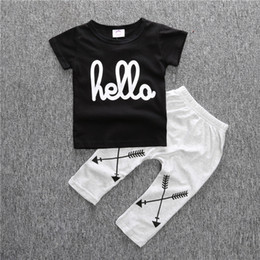 Toddler Boys Short Trousers Canada - Summer Baby Toddler Cotton Black Short Clothing Sets Girl Boy Letter Printed Shirts+ Harem Pants Suits Children Kid Tee Top Trousers Outfits