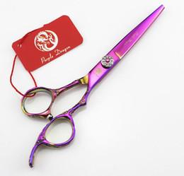 $enCountryForm.capitalKeyWord Australia - Purple dragon Hair scissors Rainbow Hair Scissors GEM screw 6 INCH Rose carving handle hair tesoura Simple packing NEW