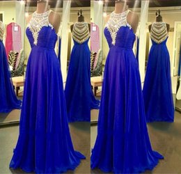 Barato Noite Mini Ver Através-Blue Rhinestone Beaded Long Evening Dresses 2017 Sexy See Through Crystal Royal Blue Chiffon A-Line Evening Prom Vestidos À Venda