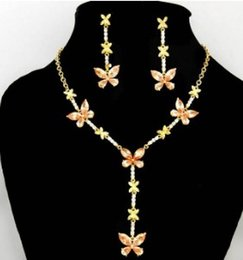Champagne Color Crystals NZ - champagne color crystal butterfly set wedding bride necklace (40+extra 8cm) earings 20mm*55mmm ( ming)