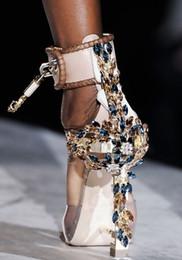 Locking High Heeled Canada - Fashion Designer Spiked High Heeled Peep Toe Women Sandals Boots Wine Strappless Rhinstone Lock Summer Shoes Woman High Quality Virginia Nud