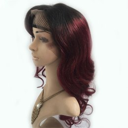 Discount human burgundy lace wigs - 1b 99j Ombre Human Hair Full Lace Wig Burgundy Two Tone 1B 99J Glueless Lace Front Full Lace Wigs Ombre Hair Wig