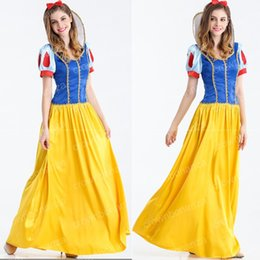 Barato Trajes De Carnaval Feminino-Mulheres Princess Snow White Cosplay Costume Halloween Carnival Party Dress Womens Adult Snow White vestidos S M L XL