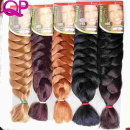 Wholesale 1pc Kanekalon Xpressions Braiding Hair Extensions quot Box Braid braids Kanekalon Jumbo Braid Hair Bulks African Braids Hair Pieces For Women