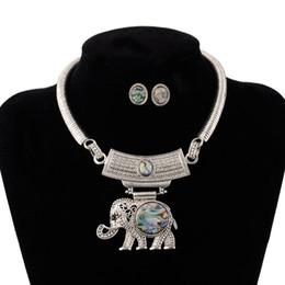 Discount necklace elephant animal - Womens Vintage Ethnic Boho Tribal Owl Elephant Jewelry Set retro Antique silver Choker Necklace Torque Earrings Jewelry