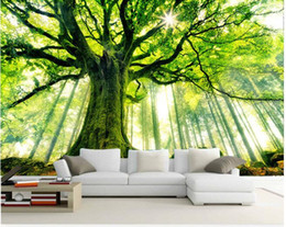 SunShine houSe online shopping - 3d wallpaper custom mural non woven Wall stickers tree forest setting wall is sunshine paintings photo d wall mural wallpaper