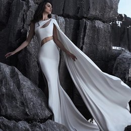 White Classic Dress Design NZ - Special Design Split Mermaid Evening Dresses White Cutaway Sides Prom Dress with Long Wrap Sweep Train Custom Made Formal Dress