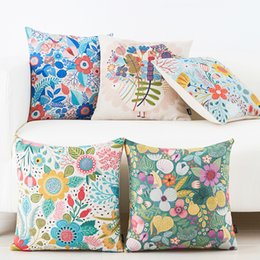 Grass With Flowers Roll Green Cotton Linen Home Decor Throw Pillows Case  Small Fresh Style Blue Red Decorative Chair Cushions Cover For Sofa