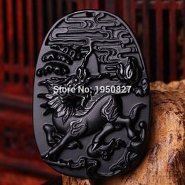 $enCountryForm.capitalKeyWord Canada - Natural Black Obsidian Carved Brave Troops Kirin Lucky Amulet Pendants Free Beads Necklace Fashion Pendant Jewelry Dropshipping