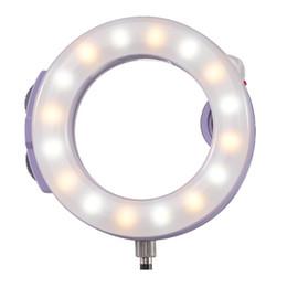 Al por mayor-Meike MK-H16 Selfie LED anillo de luz para el conector de auriculares de 3.5 mm Teléfono móvil de carga USB de varios colores trabajar con la lente del teléfono en venta