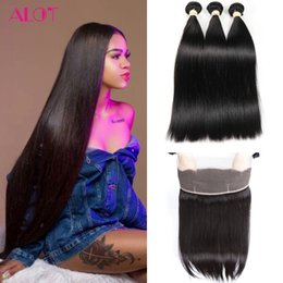 straight 12 inch weaves Australia - Brazilian Human Hair Bundles Straight Hair Weave 360 Lace Frontal with Bundles 3Pcs 100% Unprossced Natural Color Virgin Hair Extensions