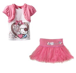 $enCountryForm.capitalKeyWord NZ - Wholesale- Ski Suits Kids Children Hello Kitty Infant Clothing Sets Baby Girl Cartoon little Girls Summer Clothes Cute Pink Kitti Skirt Set