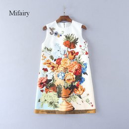 Wholesale colorful dress rhinestones for sale - Group buy Runway Dress White Peony Print Celebrity Style Dress Colorful Crystals Beads Jacquard Cotton Mini A Line Dress D061750