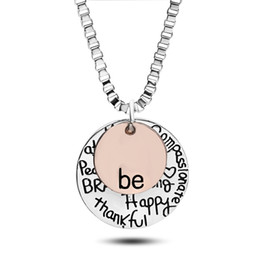 China Fashion rose gold plated Pendant Necklace hand stamped Be Happy Necklace Cute coin Engraved necklace for women girl jewelry suppliers