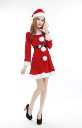 $enCountryForm.capitalKeyWord UK - Christmas Party Sexy Santa Costume Women Red Long Sleeve Mini Dress With Santa Hat Cute Cosplay Dress