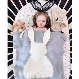 Discount baby girl quilt - 6 Color New INS Baby Girls Cute rabbit Knitted Blankets Sleeping Swaddling Sleeping Bags Children Blanket kids Bunny Swa