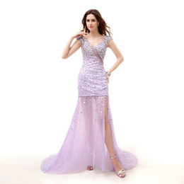 Classic Art Deco Canada - Crystal Art Deco-inspired Neck sparkly prom dresses Side Slit mermaid Tulle Sexy formal evening gowns Major Beading evening prom dress 2017