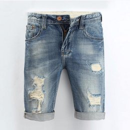 short ripped jeans for men 2019 - Fashion Men Jeans 2017 Summer Casual Men Jeans Shorts Hole Knee Length Ripped Jean For Men Brand Pants Shorts 28-36 disc