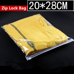 locking zipper dresses NZ - 20x28cm Clear Plastic Garment Zip Lock Reusable Dress Packaging Bags Transparent Zipper Clothing Storage Self Seal Hermetic Package Pouch