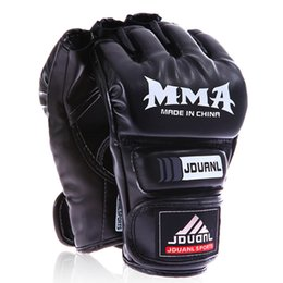 Boxing gloves mitts online shopping - Kickboxing Half Finger Gloves UFC MMA PU Fighting Glove Martial Arts Free Combat Boxing Semi Gloves Kung Fu Beginner Muay Thai Training Mitt