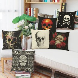 Coffee Housing Australia - 45cm human skeleton Skull Cotton Linen Fabric Throw Pillowcase 18inch Fashion New Home Gift Coffee house Decoration Sofa Cushion cover