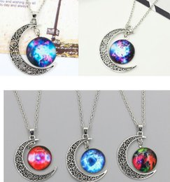 galaxy jewelry NZ - DHL Brand Jewelry Choker Necklace Glass Cabochon Universe Galaxy Lovely Pendant Silver Chain Moon Sliver Pendant Necklace Christmas Gift