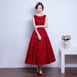 Vestidos De Rayon Nylon Spandex Baratos-Apliques con cuentas 2017 Pretty Girl Red Lace Vestidos de noche Lace up Back Tiered Graduation Party Dress Vestidos de noche Té Lengh Robe de Soiree